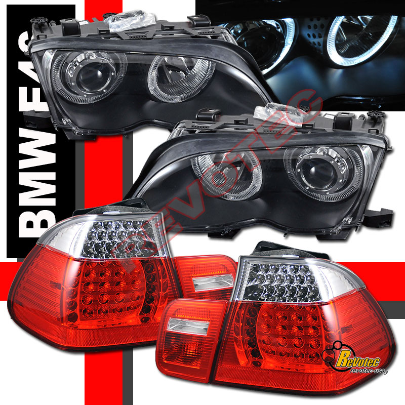 2002 2005 Bmw E46 4dr 330i Black Halo Projector Headlights