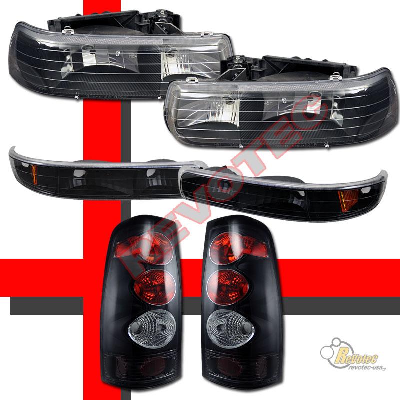 1999-2002 Chevy Silverado 1500 2500 Headlights Bumper Signal & Tail Lights Black | eBay