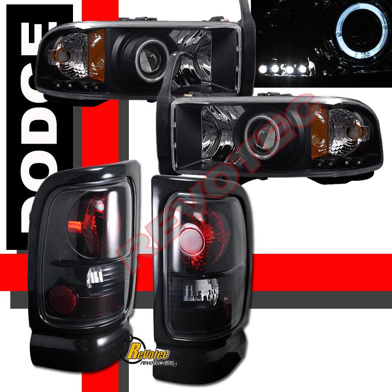 Dodge Ram Pickup Halo Projector Headlights Amp Tail Lights Black Dark Smoke