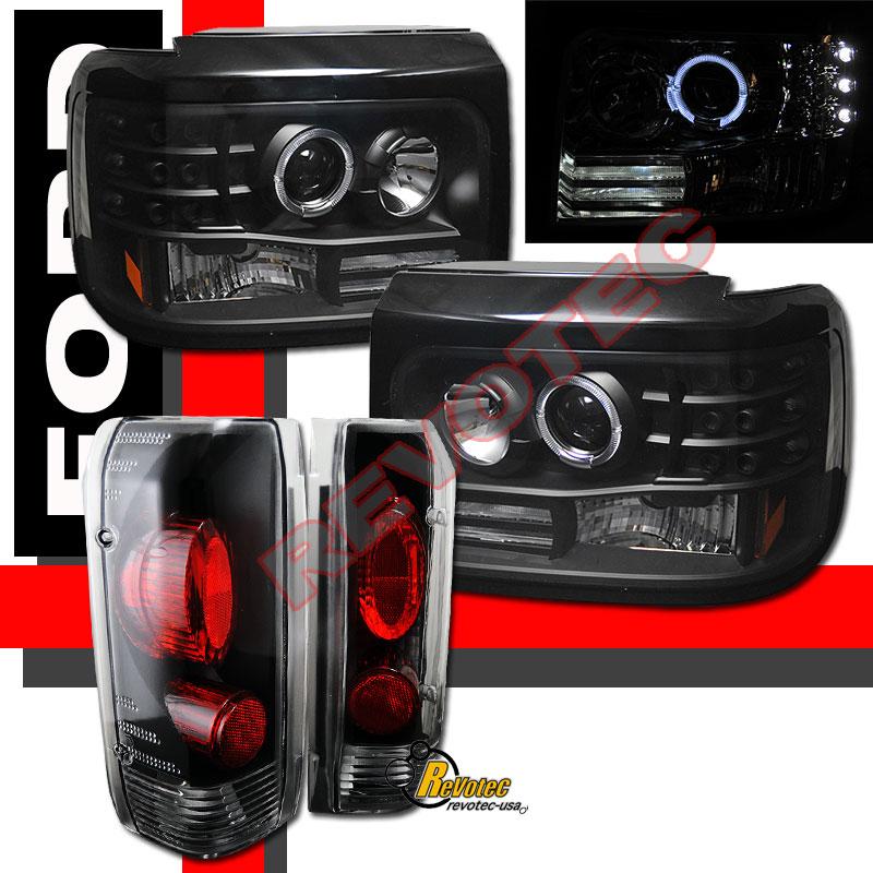 92 93 94 95 96 Ford F 150 Bronco Halo Projector Headlights