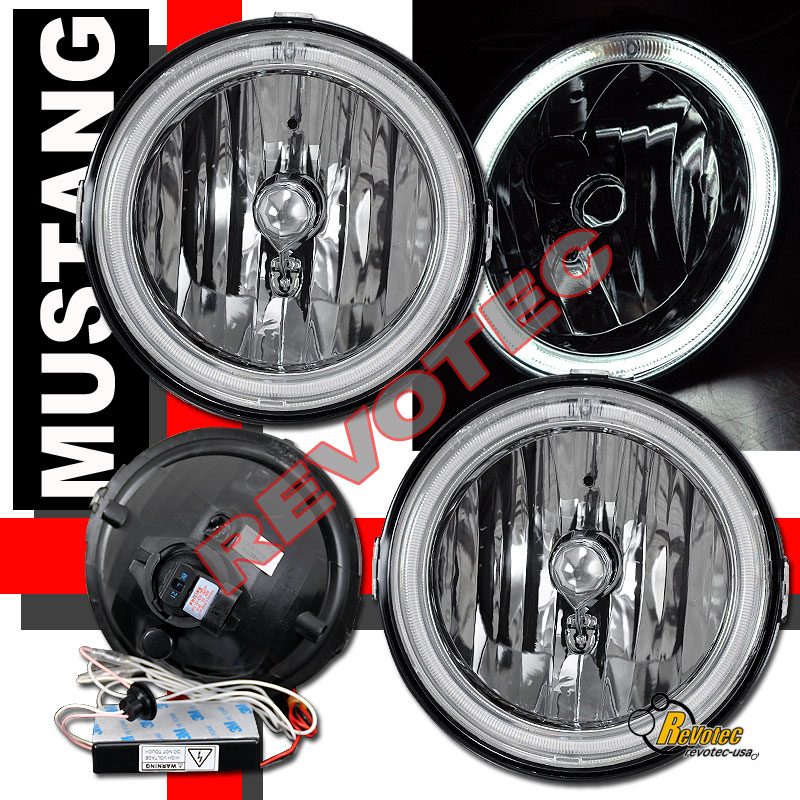 Set Black Fog Lamp Spot Light Fit Chevrolet Colorado: 05 06 07 08 09 Ford Mustang GT CCFL Halo Angel Eye Chrome