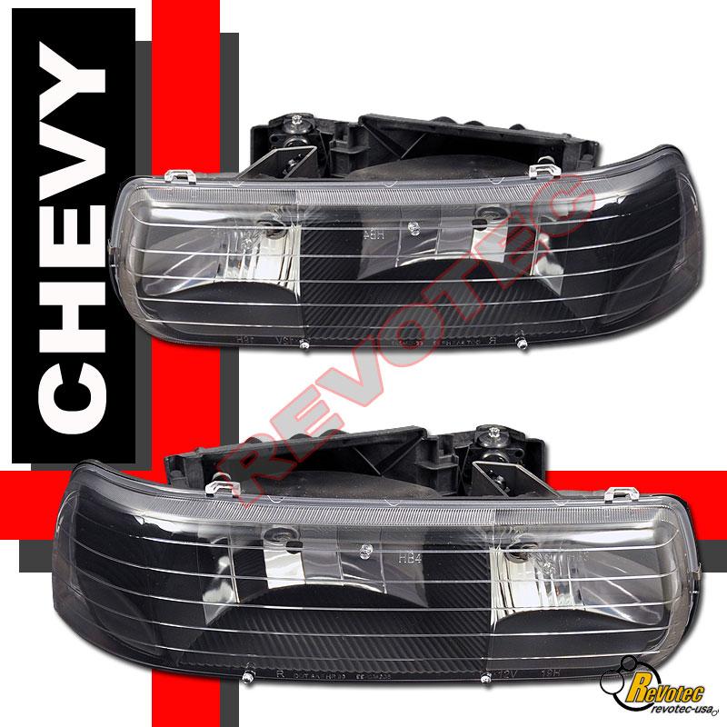 99-02 Chevy Silverado Stepside Black Headlights + Bumper