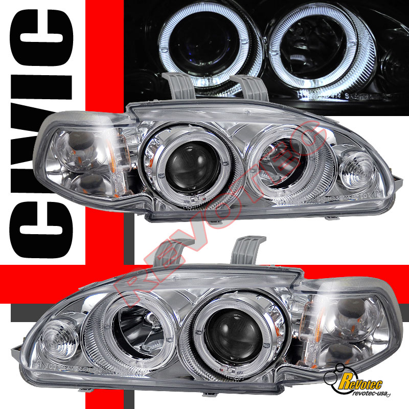 92 93 94 95 Honda Civic Coupe Halo Projector Headlights