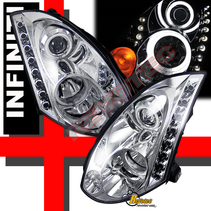 Dual CCFL Halo LED Projector Headlights For 03 04 05