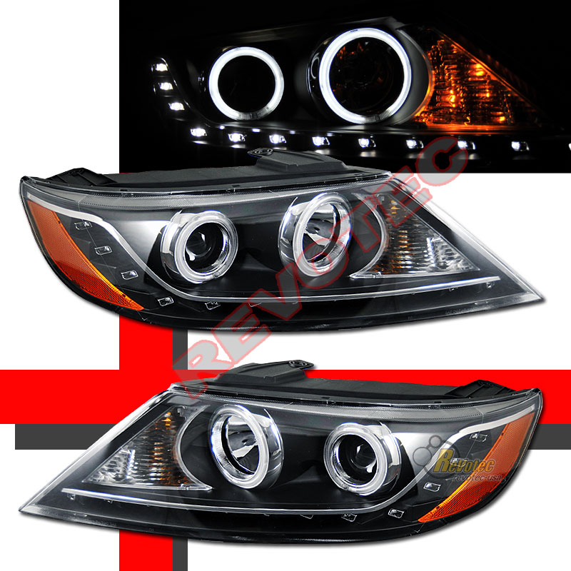 CCFL Halo Angel Eyes R8 LED Black Projector Headlights For