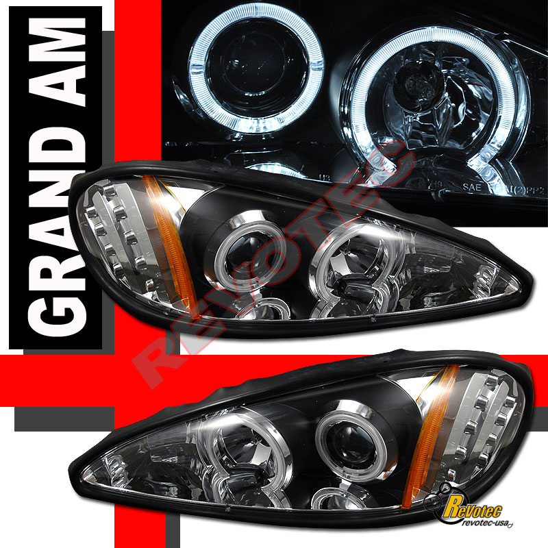 99-05 Pontiac Grand AM Dual Halo Angel Eyes LED Black