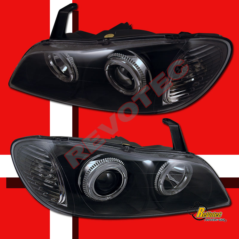 Dual Halo Angel Eyes Black Projector Headlights For 2000