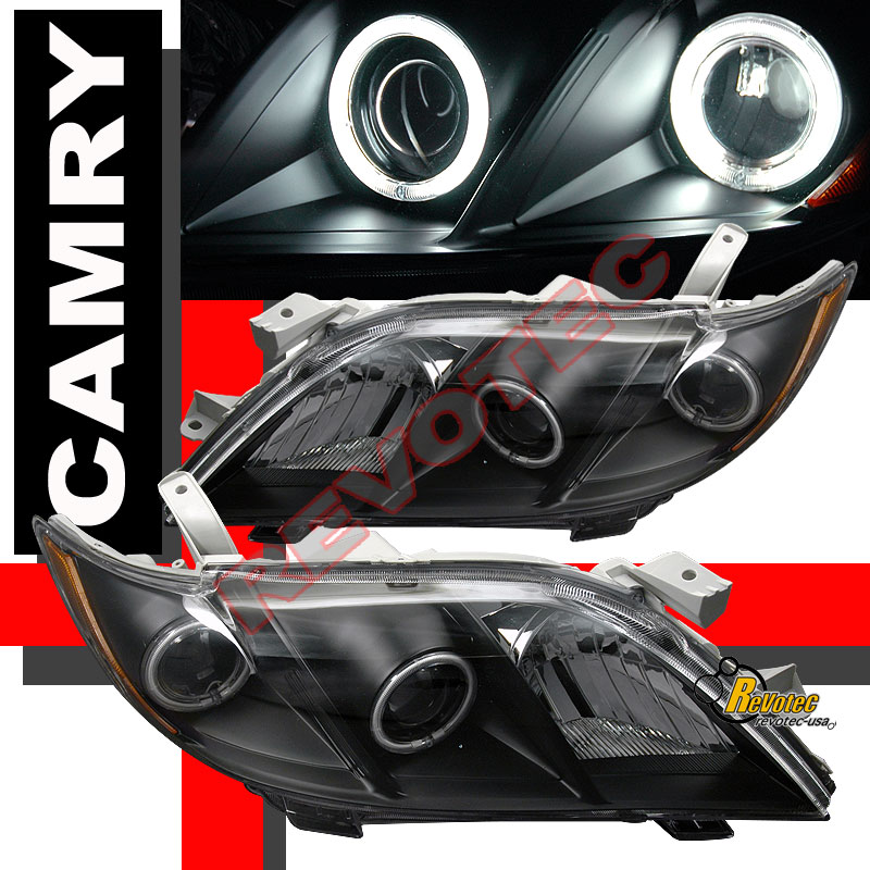 2007 2008 2009 toyota camry dual ccfl halo angel eyes projector headlights black ebay. Black Bedroom Furniture Sets. Home Design Ideas