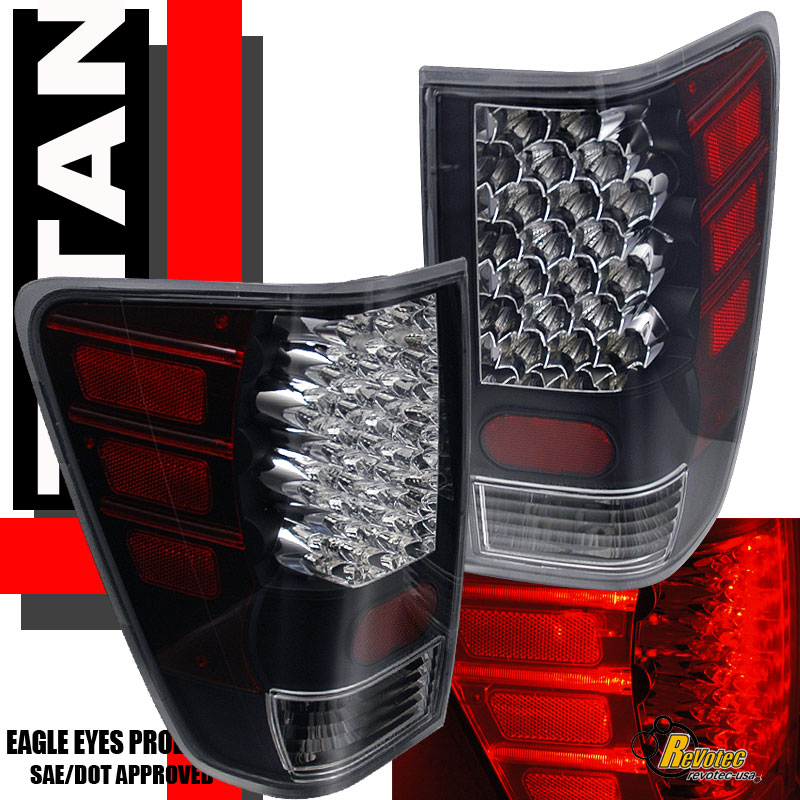 Black LED Tail Lights Lamps For 2004-2011 Nissan Titan LE